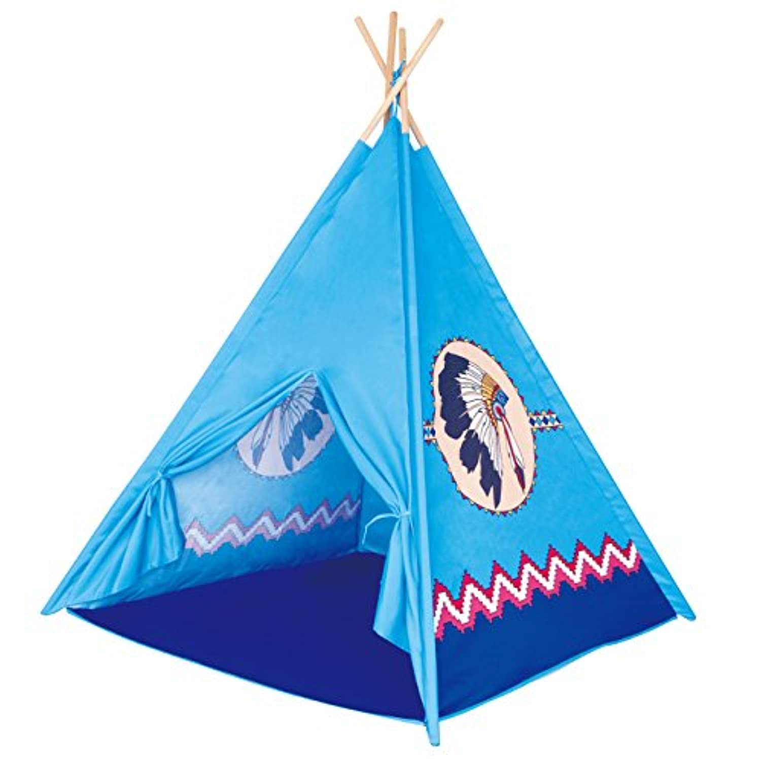 Poco Divo ApacheターコイズTeepee Indian Tribeテントキッズインドアアウトドア再生子Playhouse Castle Toy Tipi with Wooden極