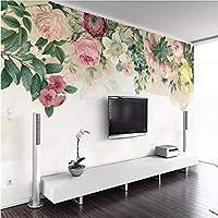 Xxzzdn 3D壁紙モダンなミニマリストの手描きのバラのテレビの背景の壁紙壁画の高品質の防水素材-350X250Cm
