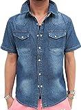 (マルカワジーンズパワージーンズバリュー) Marukawa JEANS POWER JEANS VALUE デニムシャツ メンズ 半袖 ウエスタンシャツ 加工デニム 4color M ブルー