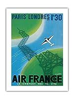 パリからロンドン - 1時間30分 - エールフランス - ビンテージな航空会社のポスター によって作成された ロジャー・デ・ヴァレリオ c.1946 -プレミアム290gsmジークレーアートプリント - 46cm x 61cm