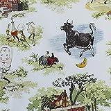輸入生地 WINDHAM FABRICS ウィンダムファブリック 牛・豚・木 USAコットン 巾約110cm×50cmカットクロス WIN51093-X-50