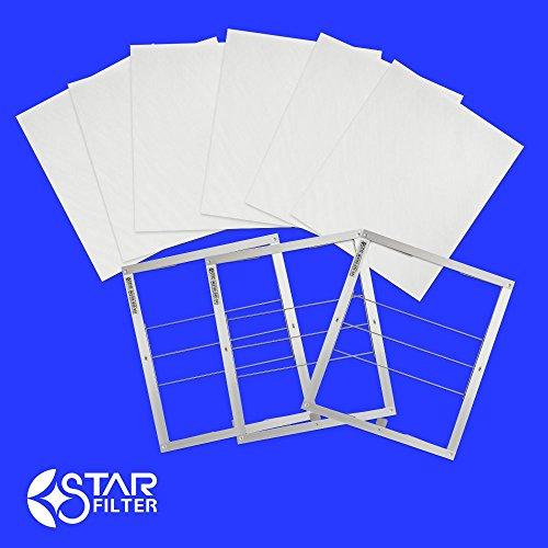 RoomClip商品情報 - スターフィルター レンジフードフィルター スターターセット 専用枠3枚+フィルター6枚 ガラス繊維タイプ [横297×縦290×厚7mm]