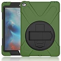 ASHONNEY iPad Pro 9.7 ハンドストラップ ケース ハードPCバックカバーとソフトTPU 全面保護 耐衝撃 衝撃吸収 防塵 モデル ハイブリッド カバー アーミーグリーン