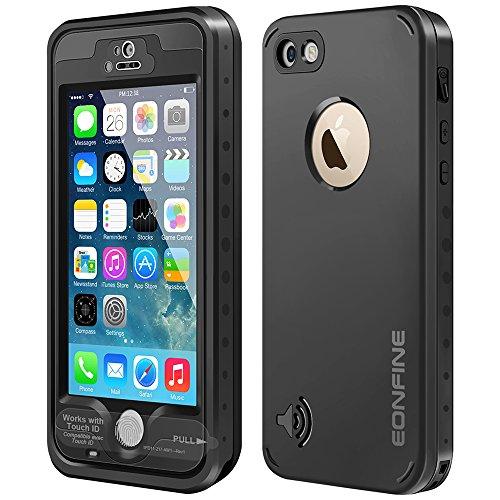 Eonfine-正規品 iPhone 5s / 5 対応 防水ケース フルプロテクションケース 防水 防塵 防じん 耐衝撃 IPx68 指紋認証対応 アイフォン5s/5カバー ブラック