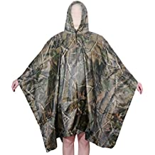 Aircee (TM) Camouflage Military Emergency Waterproof Rain Poncho Packable Rainwear, Can be Used As a Shelter Tent