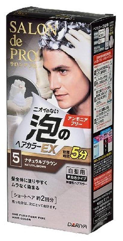 リー代名詞同情サロンドプロ 泡のヘアカラーEX メンズスピーディ(白髪用) 5<ナチュラルブラウン> × 10個セット