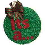 It's a Christmas Gender Reveal Pinata 41cm Red & Green Bow