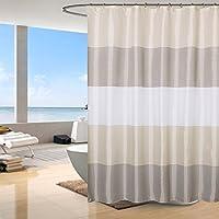 シャワーカーテン 浴室カーテン ユニットバス カーテン 防水 防カビ おしゃれ 洗面所 窓 遮像 速乾 軽量 リング付 120×180cm,ストライプ ベージュ