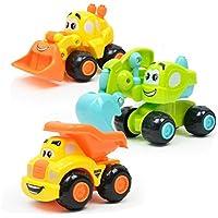 sukeqキュートFriction Powered Cars、ツイストForward Movement ClockworkばねTrucks TractorsおもちゃCartoonフォークリフトおもちゃプレゼントに子供と友達