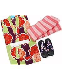 363ae9a347357 Amazon.co.jp  黄緑 - 着物・浴衣   ガールズ  服&ファッション小物