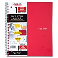(Red) - Five Star Wirebound Notebook, 1-Subject, 100 Wide-Ruled Sheets, 27cm x 20cm Sheet Size, Red (72017)