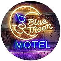Blue Moon Motel Bar Pub Club Dual LED看板 ネオンプレート サイン 標識 Blue & Yellow 300mm x 210mm st6s32-i2333-by
