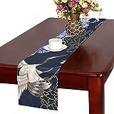 LKCDNG テーブルランナー 黒い 和風の花 クロス 食卓カバー 麻綿製 欧米 おしゃれ 16 Inch X 72 Inch (40cm X 182cm) キッチン ダイニング ホーム デコレーション モダン リビング 洗える