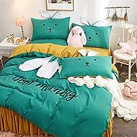 ベッドの裏地 4点セット ベッドスカート ベッドシーツ 素敵な うさぎの耳 寝具セット 布団カバー 枕カバー 150センチ 180センチ 200センチ 220,01,A180cm4suit