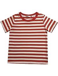 X.N.S(希望)Tシャツ 男の子 キッズ 服 女の子 ボーイズ ガールズ ボーダー 半袖Tシャツ