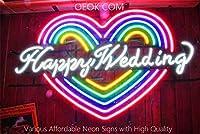 ハッピーウエディングHappy Weddingネオンサイン ライトNEON SIGN ビールバー 装飾壁・電飾・標識・広告用看板、クラブ及び娯楽場所等 インテリア