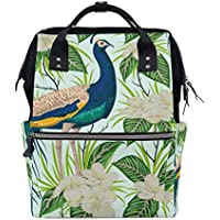 ママバッグ マザーズバッグ リュックサック ハンドバッグ 旅行用 青いピーコック 木ノ葉と花柄 ファション
