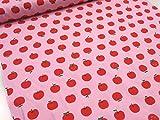スマイルりんご ピンク CBプリント |リンゴ|アップル |生地|布|キッズ|女の子|かわいい|ソーイング|