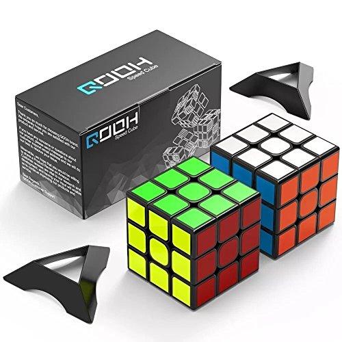 スピードキューブ QOOH 競技専用ver.2.0 世界基準配色 2個 セット 回転スムーズ 予備のシール パズルスタンドつき (ペンライト)