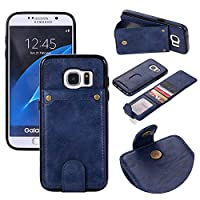 Samsung Galaxy S7 レザーケース、Scheam 財布型 カバー Samsung Galaxy S7 手帳型ケース-Blue