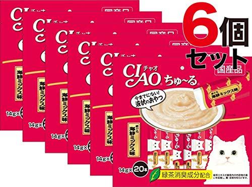 CIAO ちゅ〜る まぐろ海鮮ミックス味 14g 20本入り × 6個セット ちゅーる
