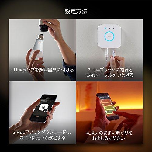 『Philips Hue(ヒュー) | ホワイトグラデーション スターターセット | E26スマートLEDライト2個+ブリッジ1個+ディマースイッチ1個 |【Amazon Echo、Google Home、Apple HomeKit、LINEで音声コントロール】』の5枚目の画像