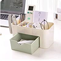 WTL かご?バスケット 小さな引き出し収納ボックスの家庭用多機能ジュエリーボックス収納ボックス付きプレーンプラスチックデスクトップケース (色 : 緑)