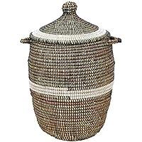 アフリカのランドリーバスケット/セネガルバスケット/手編み/天然素材/水草/ブラック&ホワイトライン
