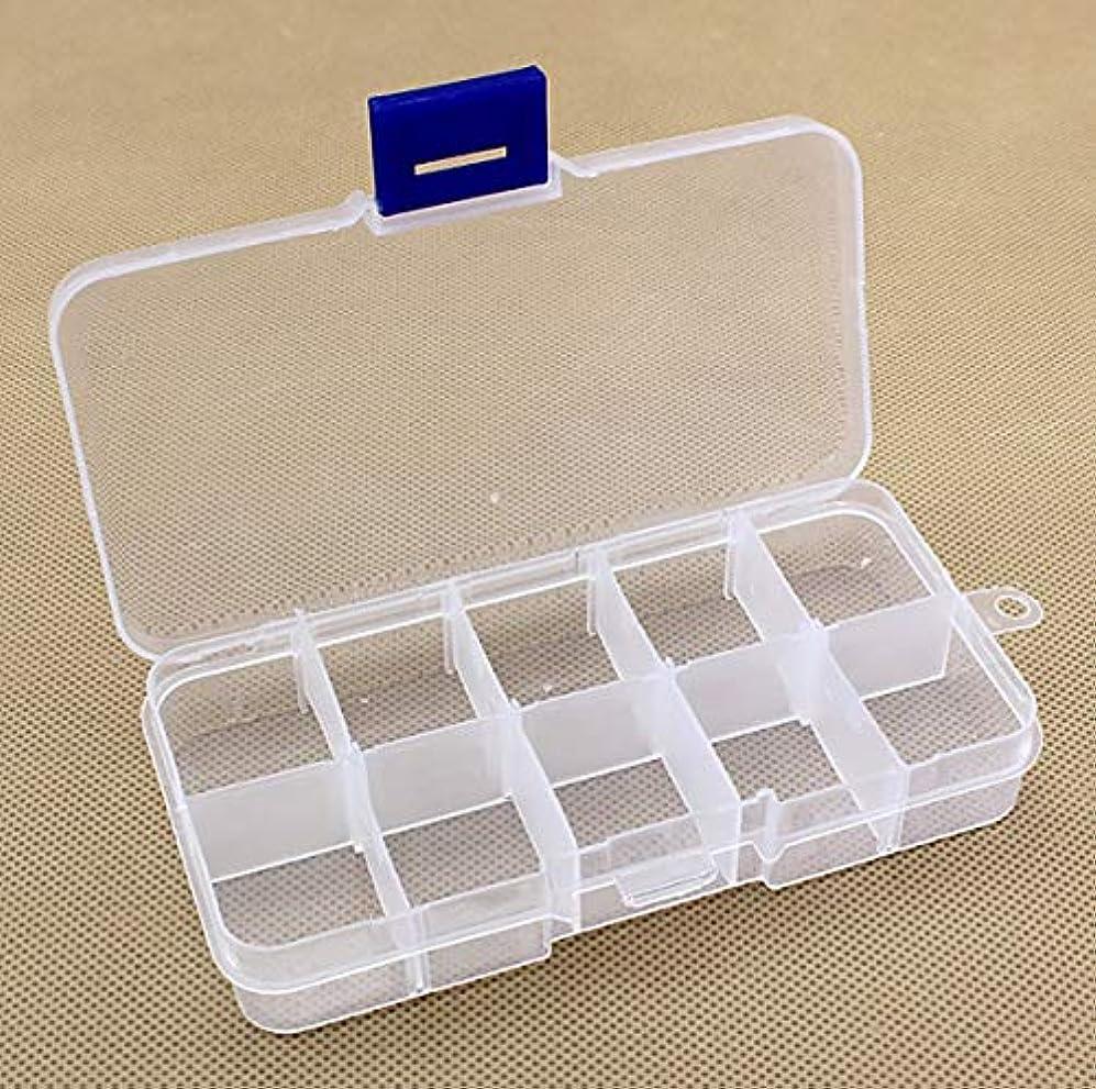 責リレー模索ポータブルサイズ10スロットピルボックスケース旅行毎週薬ストレージコンテナーオーガナイザーケース薬-ブルー