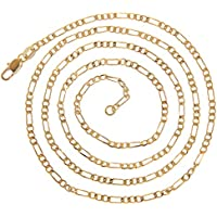 VPbao 2pcs Plated Gold Necklace Figaro Chain Set Jewellery