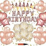 誕生日 RunTure 飾り付け バースデー デコレーション セット きらきら風船 バルーン パーティー お祝い ローズゴールド