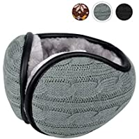 CUIMEI Winter Ear Muffs for Men & Women - Foldable Fleece Ear Warmers - Pefer for Outdoor Cycling Running Skiing - Behind The Head Earmuffs