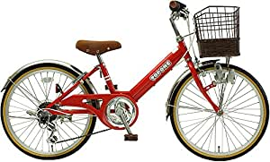 TOPONE 子供用自転車 20インチ 前カゴ付 シマノ6段変速ギア ステンレス泥除け シティサイクル キッズサイクル ジュニアサイクル 男の子 女の子 NV206-RD レッド RED