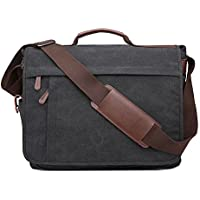 Neumora Practical Design Men's Canvas Shoulder Messenger Bag Casual Laptop Cross-Body Sling Bag Satchel Bag for 15.6 inch Laptop Large Size
