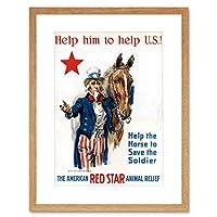 Vintage Ad War WWI USA Charity Red Star Uncle Sam Horse Framed Wall Art Print ビンテージ戦争アメリカ合衆国チャリティー星叔父うま壁