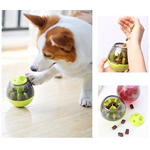 ALANSNOW犬 猫 おもちゃ食器 犬猫用フード おやつボール 餌入れ 犬用 倒れないエッグ ボール 噛むおもちゃ 餌やり 運動不足対応 (グリーン)