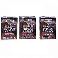 アサヒペン 油性木部防虫・防腐ステインEX 3L ライトオーク 【まとめ買い3缶セット】