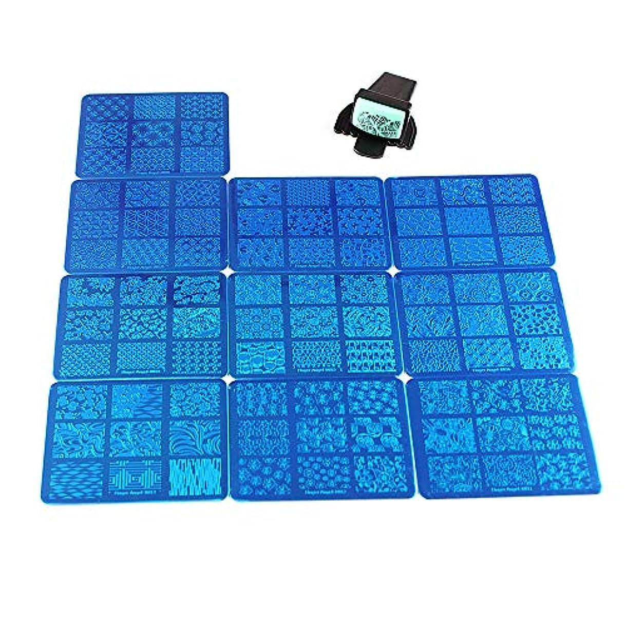 生活分類する緩やかなFingerAngel 10枚 ネイルイメージプレートセット ネイルプレート 長方形 花 フルカバー ネイルスタンププレート スタンプ スクレーパー(B11-20)