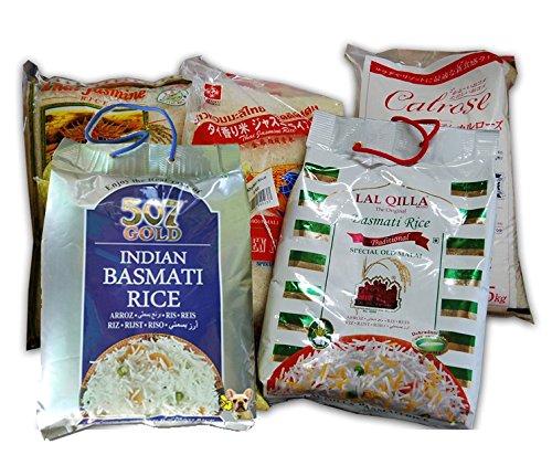世界の高級米セット 白米25kg(5kg5種類) バスマティライス2種 ジャスミンライス2種 カルローズ1種