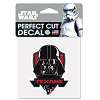 Houston Texans公式NFL 4インチx 4インチStar Wars Darth Vader Die Cut車デカールby WinCraft 401274