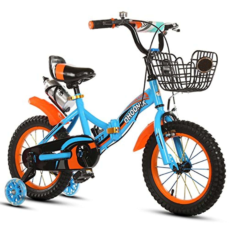 QXmEi自転車Children 's Folding Bike 2 – 4-6 – 7-8 – 9-10 Years Old Boy自転車 18Inches ブルー 02170
