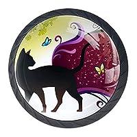 DEYYA かわいい猫の蝶 クリスタルガラス キャビネットドアノブ プルハンドル 人間工学的引き出しハンドル 4個
