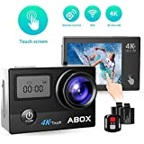 ABOX Action Camera 4K 16MP Touch Screen WiFi 30M Waterproof Sports Camera with Remote Control 2 Rechargeable Batteries 170 Degree Wide Angle Motocycle Bike Helmet Camera