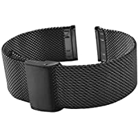 Metal Stainless Steel Mesh Watch Band Black Sliver Rose Gold 16/18/20/22mm for Mens