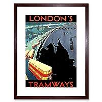 Travel Tram Thames London Boudicca Statue City Street UK Framed Wall Art Print 旅行ロンドン像シティ通りイギリス壁