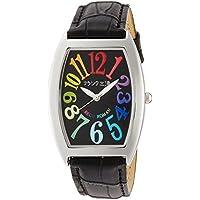 [フランク三浦]FRANKMIURA 腕時計 零号機 グレコローマンスタイル400戦無敗 記念モデル 革ベルト カラフル ブラック FM00K-CRB