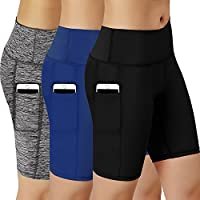 Women Performance Athletic Compression Shorts with Side Pocket Pack of 3