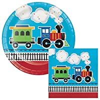 All Aboard Train Lunch Plates & Napkins Party Kit for 8 [並行輸入品]