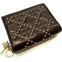 Christian Dior クリスチャン ディオール 二つ折りジップ財布 スタッズ ブラック レザー【中古】
