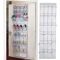 Amamcy 24ポケット 靴オーガナイザー シンプルな家庭用品 透明 ドア掛け式 折りたたみ式 大きいサイズ 寝室 バスルーム 棚